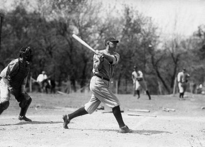 Ty Cobb Takes A Swing In Spring Training In San Antonio In 1921.