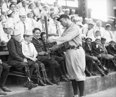 Ty Cobb Demonstrates His Batting Style To Some Crippled Kids
