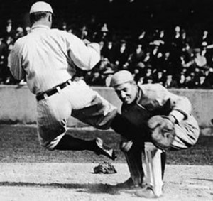 Ty Cobb Slides Into Catcher At Home Plate