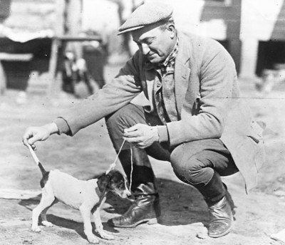 Ty Cobb Inspects His Hunting Partner-in-Training